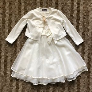 Girls Flower Girl Ivory Dress/Cardigan Set